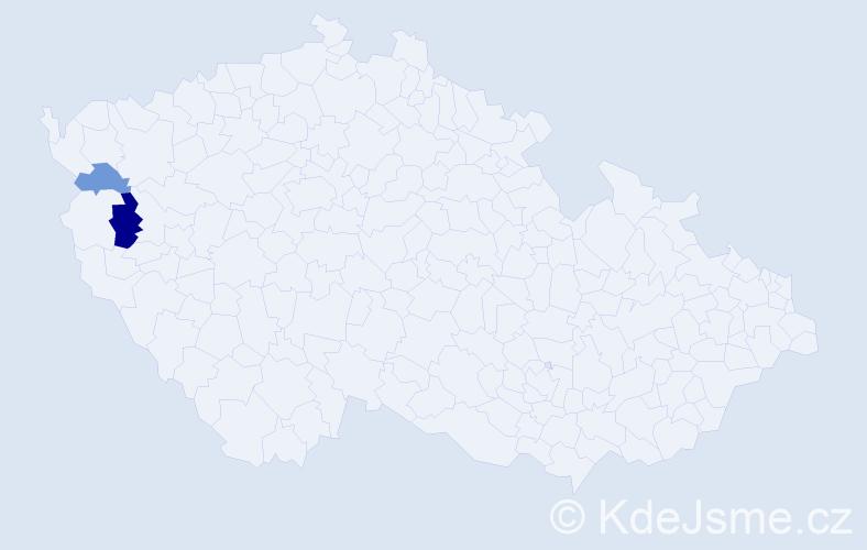 Příjmení: 'Estočinová', počet výskytů 3 v celé ČR