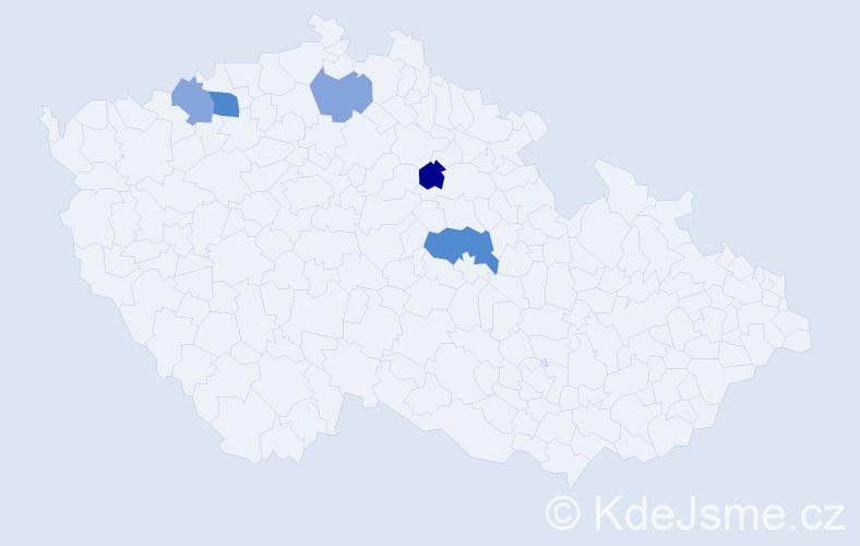 Příjmení: 'Čobáková', počet výskytů 7 v celé ČR