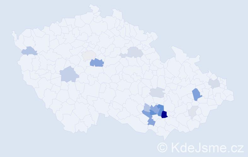 Příjmení: 'Auda', počet výskytů 56 v celé ČR