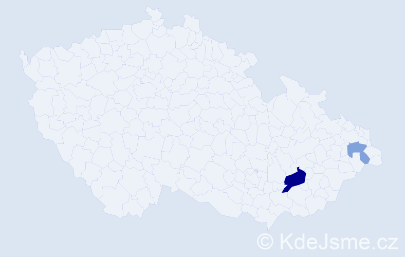 Příjmení: 'Bernolák', počet výskytů 4 v celé ČR