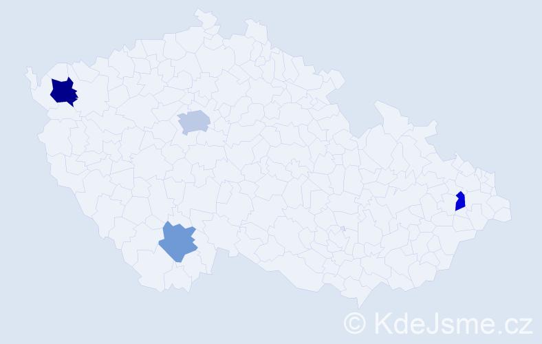 Příjmení: 'Fabiš', počet výskytů 6 v celé ČR