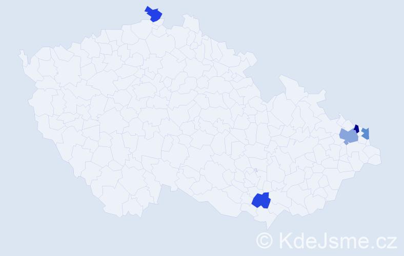 Příjmení: 'Grabková', počet výskytů 20 v celé ČR