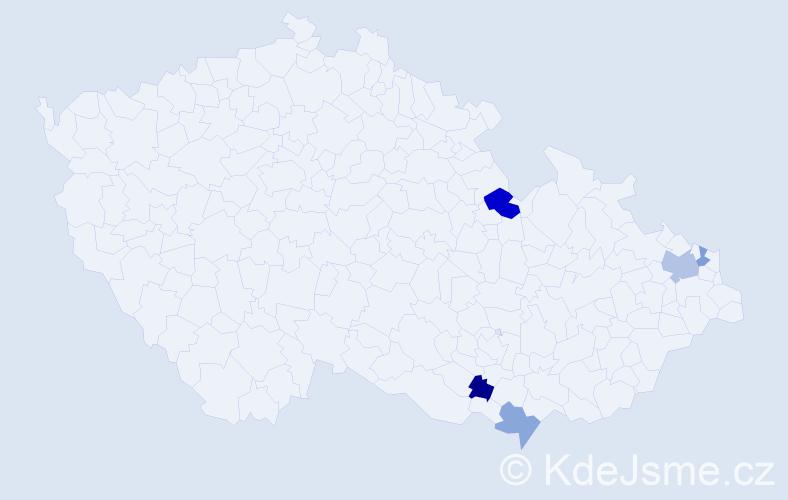 Příjmení: 'Jackanin', počet výskytů 7 v celé ČR