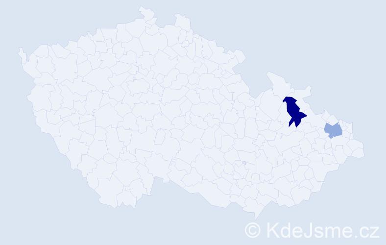 Příjmení: 'Dřimalová', počet výskytů 2 v celé ČR