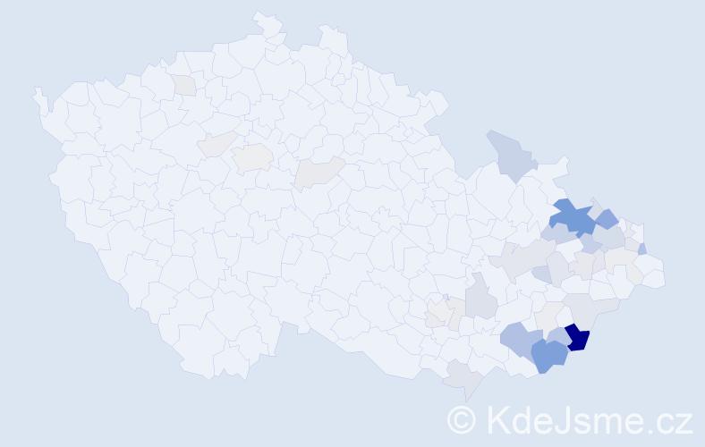Příjmení: 'Cahel', počet výskytů 122 v celé ČR
