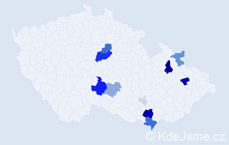 Příjmení: 'Bahníček', počet výskytů 15 v celé ČR
