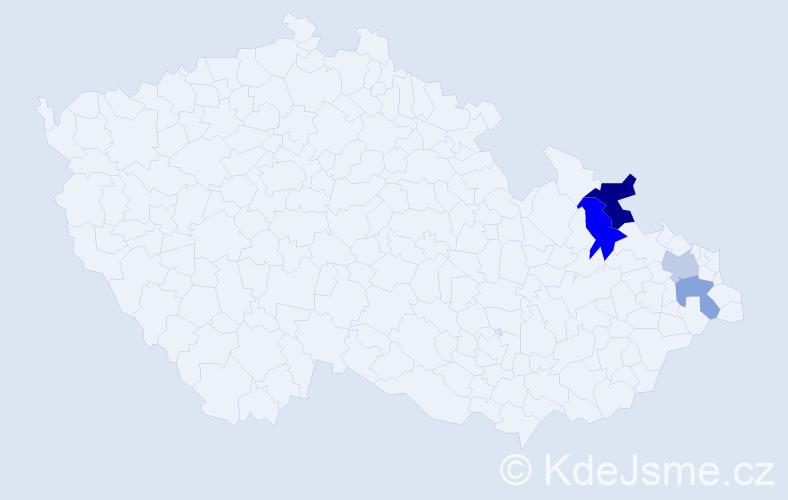 Příjmení: 'Danči', počet výskytů 11 v celé ČR