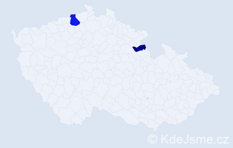 Příjmení: 'Bondora', počet výskytů 9 v celé ČR