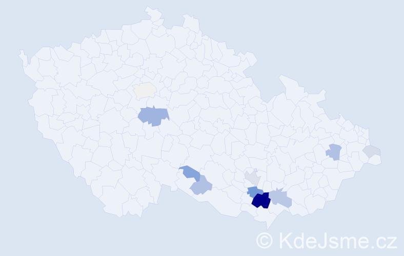 Příjmení: 'Klimus', počet výskytů 28 v celé ČR