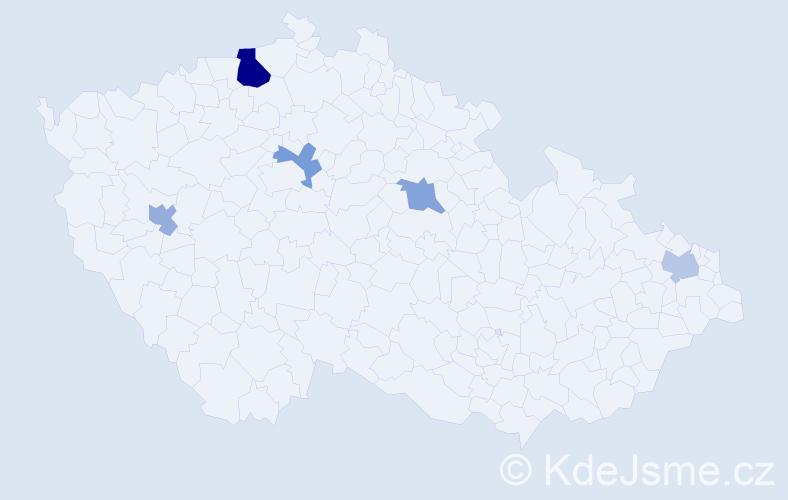 Příjmení: 'Bese', počet výskytů 8 v celé ČR