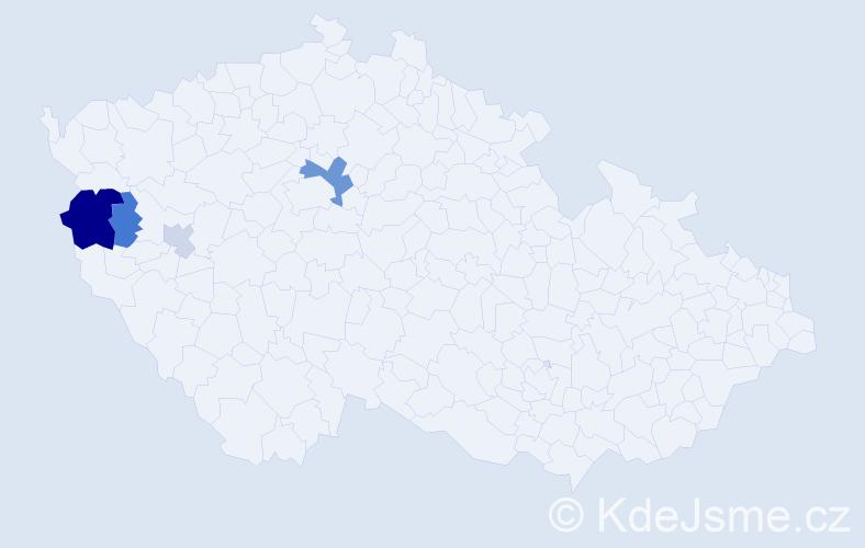 Příjmení: 'Korona', počet výskytů 9 v celé ČR