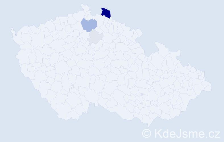 Příjmení: 'Ismanický', počet výskytů 14 v celé ČR