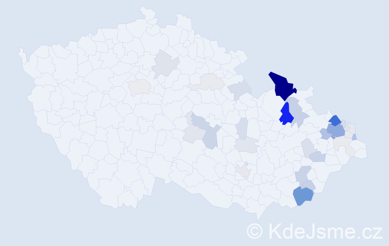 Příjmení: 'Kozub', počet výskytů 115 v celé ČR