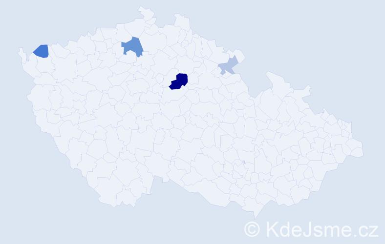Příjmení: 'Hochbergerová', počet výskytů 9 v celé ČR