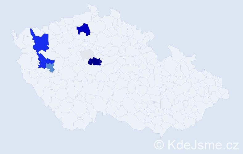 Příjmení: 'Foudová', počet výskytů 15 v celé ČR