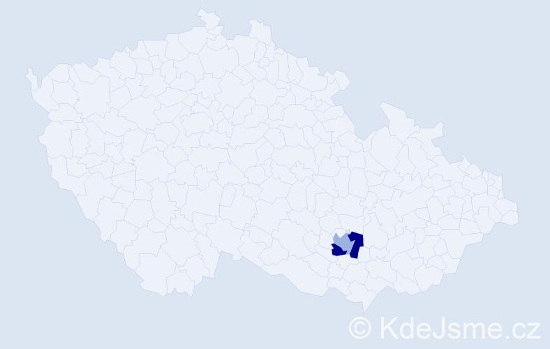 Příjmení: 'Čechr', počet výskytů 5 v celé ČR