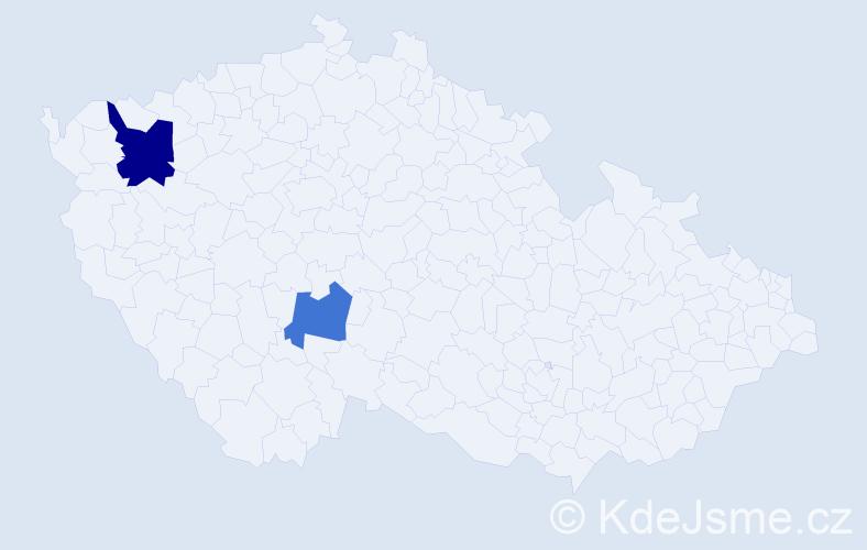 Příjmení: 'Kadilaková', počet výskytů 3 v celé ČR