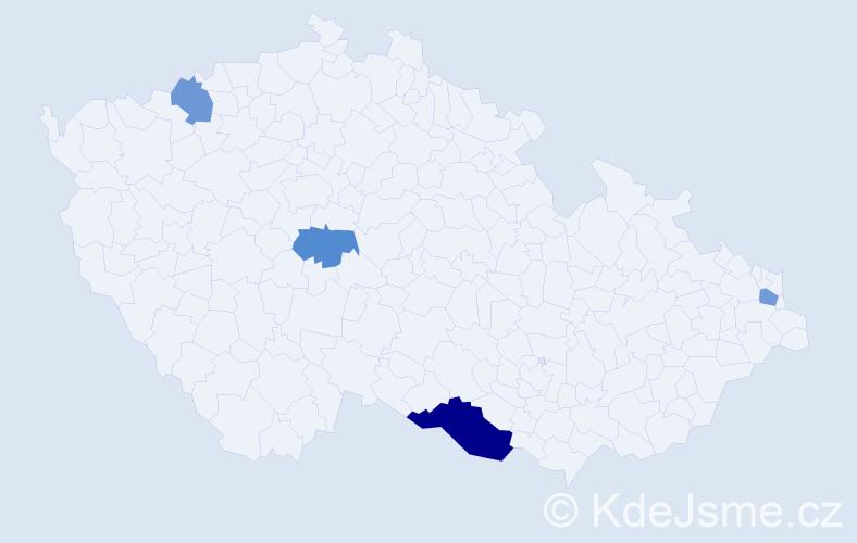 Příjmení: 'Klubicová', počet výskytů 6 v celé ČR