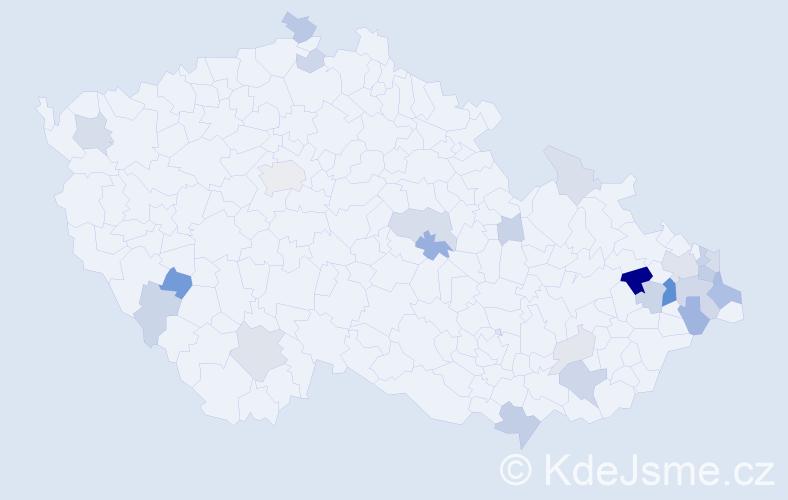 Příjmení: 'Činčalová', počet výskytů 70 v celé ČR