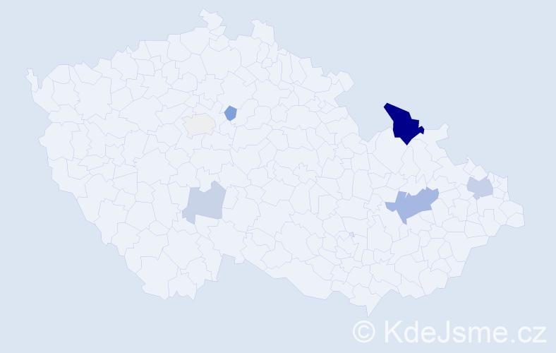 Příjmení: 'Čopjanová', počet výskytů 16 v celé ČR