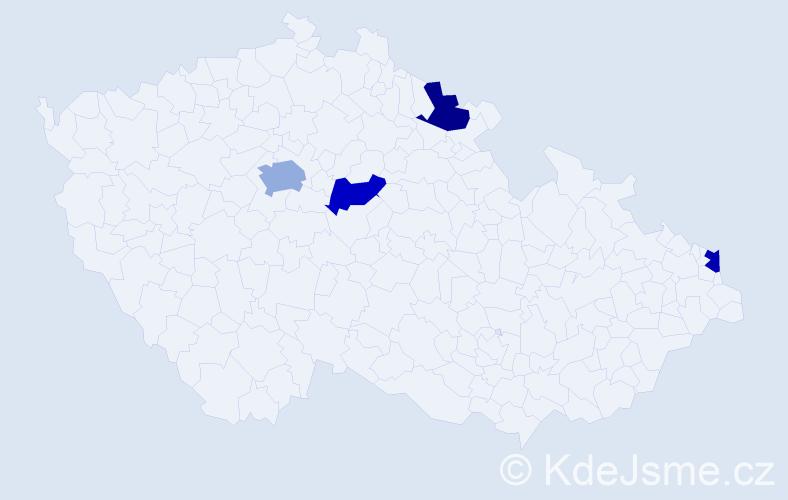 Příjmení: 'Javorik', počet výskytů 5 v celé ČR