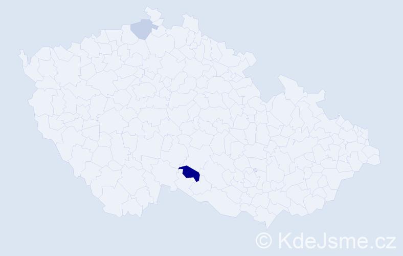 Příjmení: 'Gerbócová', počet výskytů 3 v celé ČR