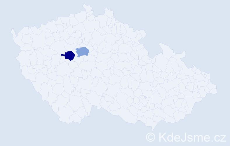 Příjmení: 'Ilem', počet výskytů 4 v celé ČR