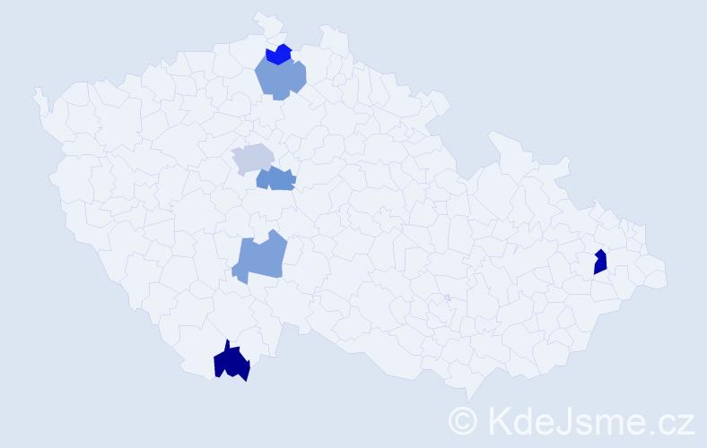 Příjmení: 'Ernekr', počet výskytů 10 v celé ČR