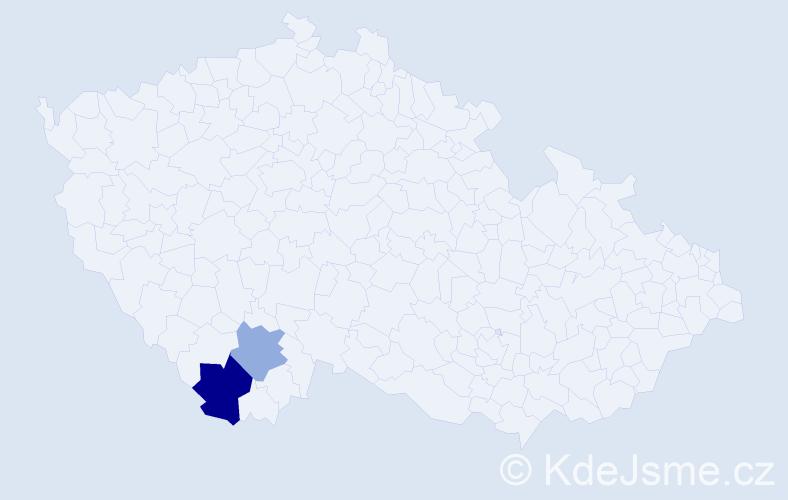 Příjmení: 'Čabanovová', počet výskytů 9 v celé ČR