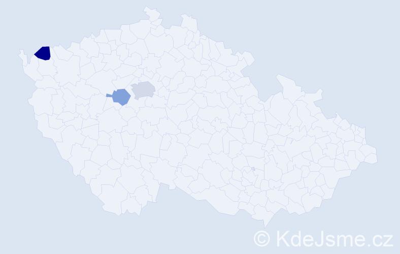 Příjmení: 'Čekajlová', počet výskytů 5 v celé ČR