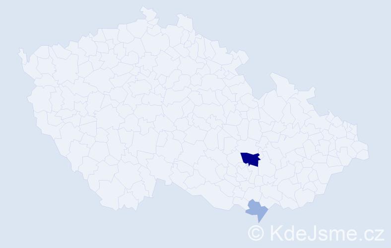 Příjmení: 'Hnátovičová', počet výskytů 6 v celé ČR