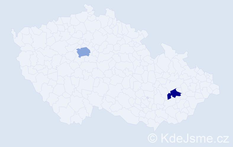 Příjmení: 'Kištulinec', počet výskytů 3 v celé ČR