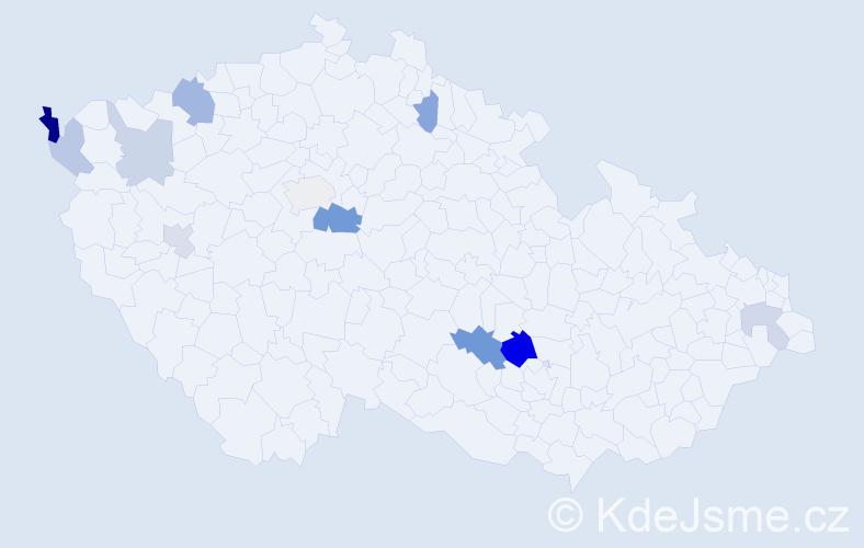 Příjmení: 'Kiefer', počet výskytů 20 v celé ČR