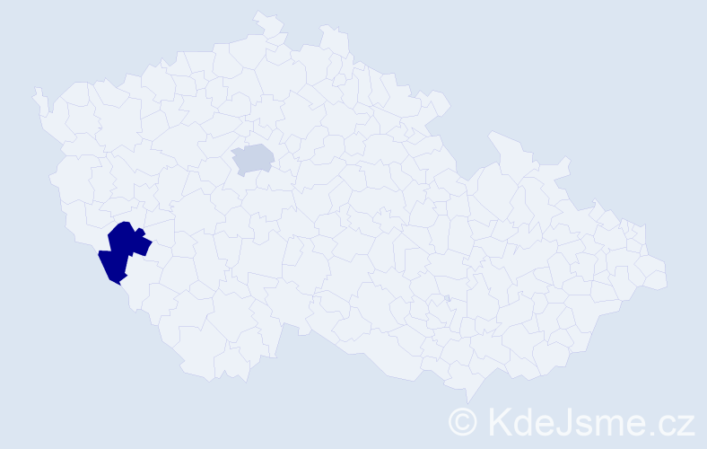 """Příjmení: '""""De Angelisová""""', počet výskytů 2 v celé ČR"""