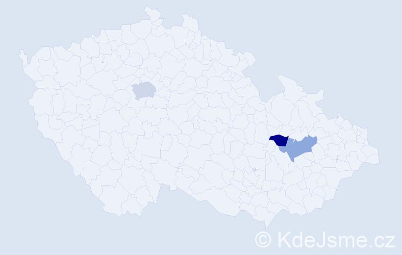 Příjmení: 'Jeligová', počet výskytů 4 v celé ČR