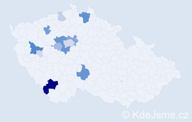 Příjmení: 'Hettner', počet výskytů 33 v celé ČR