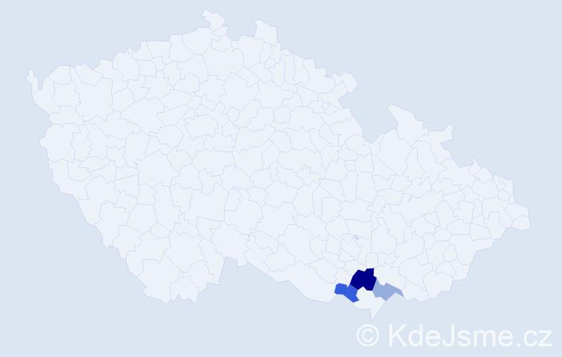 Příjmení: 'Laziová', počet výskytů 5 v celé ČR