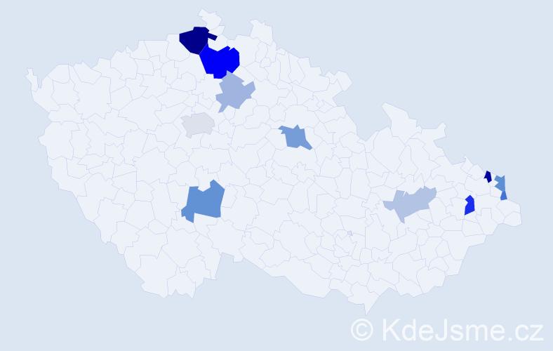 Příjmení: 'Čeřenský', počet výskytů 24 v celé ČR