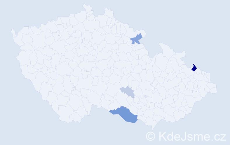 Příjmení: 'Ďuriška', počet výskytů 18 v celé ČR