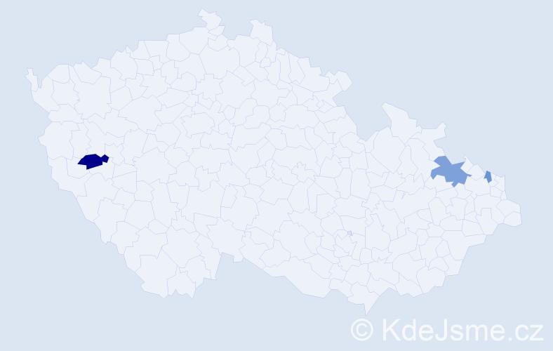 Příjmení: 'Czerna', počet výskytů 5 v celé ČR