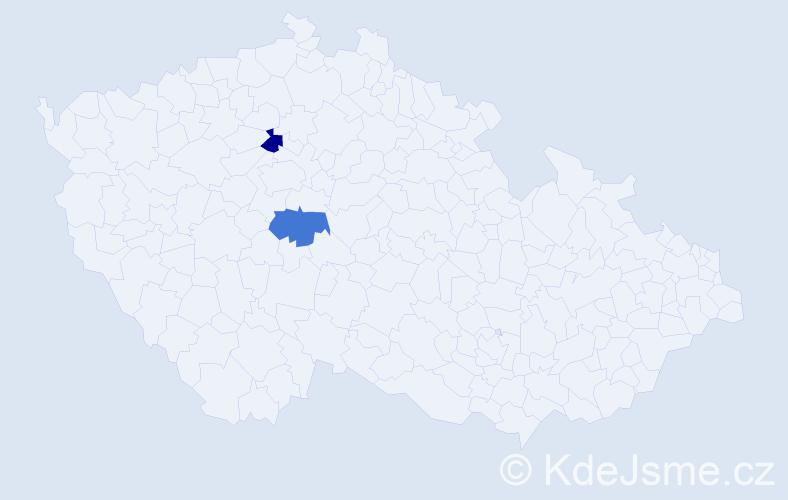 Příjmení: 'Hrubíšová', počet výskytů 2 v celé ČR