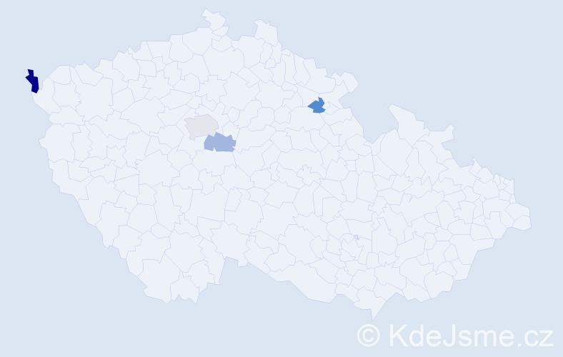 Příjmení: 'Častvajová', počet výskytů 6 v celé ČR