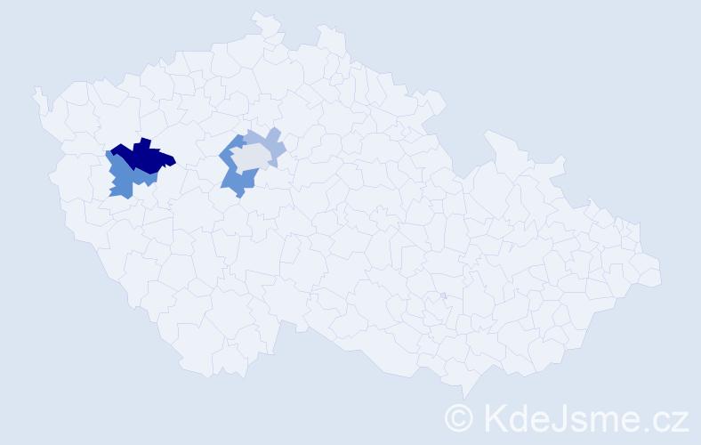 Příjmení: 'Ebrle', počet výskytů 10 v celé ČR