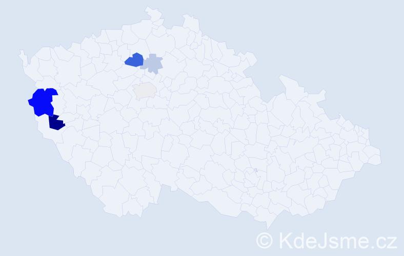 Příjmení: 'Houžková', počet výskytů 16 v celé ČR