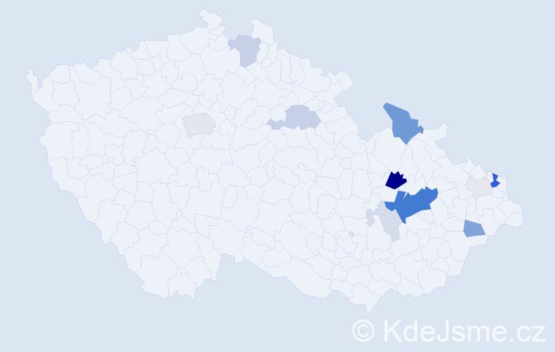 Příjmení: 'Grygárek', počet výskytů 39 v celé ČR