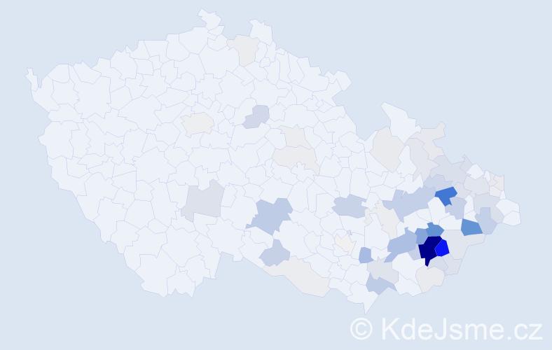 Příjmení: 'Dlabajová', počet výskytů 220 v celé ČR