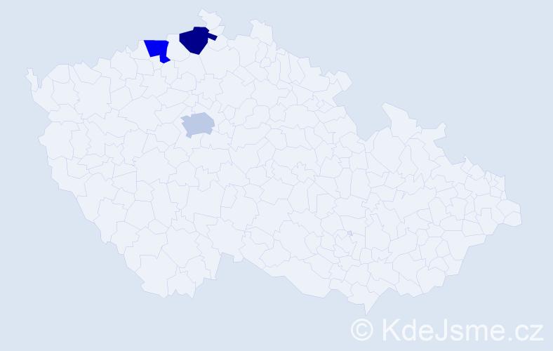 Příjmení: 'Hanzliček', počet výskytů 3 v celé ČR