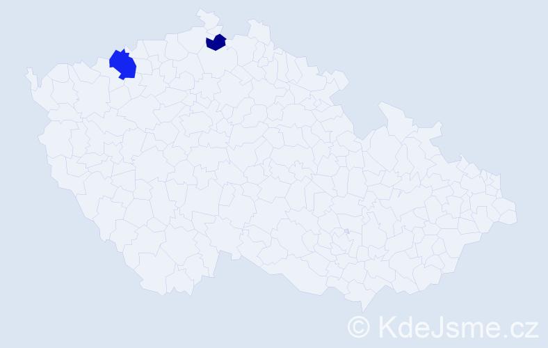 Příjmení: 'Deker', počet výskytů 3 v celé ČR
