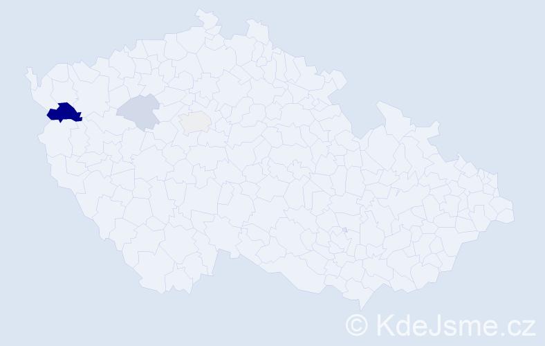 Příjmení: 'Jakubčeková', počet výskytů 9 v celé ČR