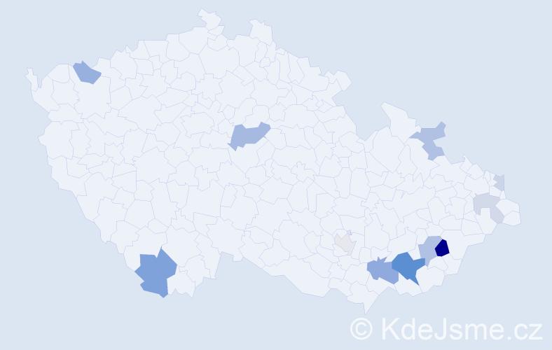 Příjmení: 'Hujíková', počet výskytů 22 v celé ČR